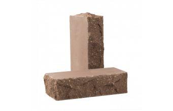 Лицевой кирпич Рубелэко Дикий камень тычковой полнотелый шоколад КСЛБ5