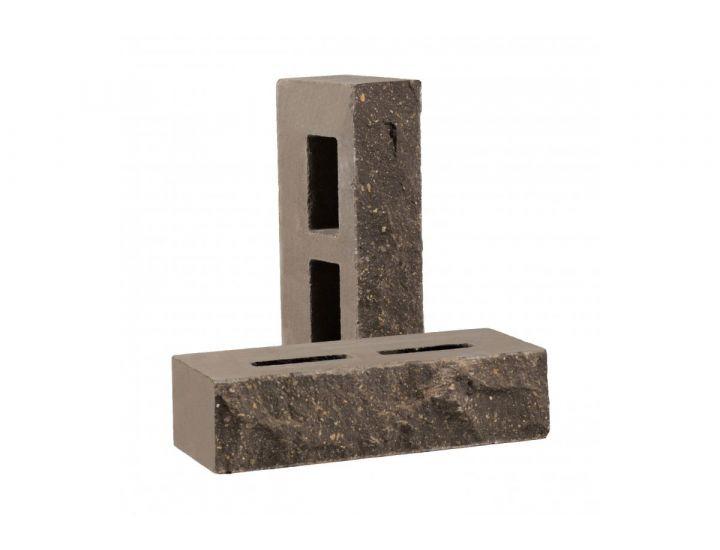 Лицевой кирпич скала Рубелэко Дикий камень пустотелый графит КСПА6