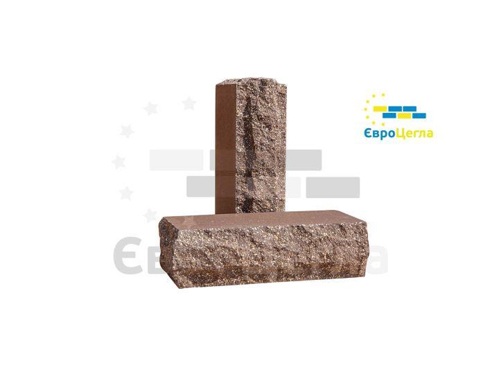 Облицовочный гиперпрессованый кирпич скала Євроцегла коричневый тычковой