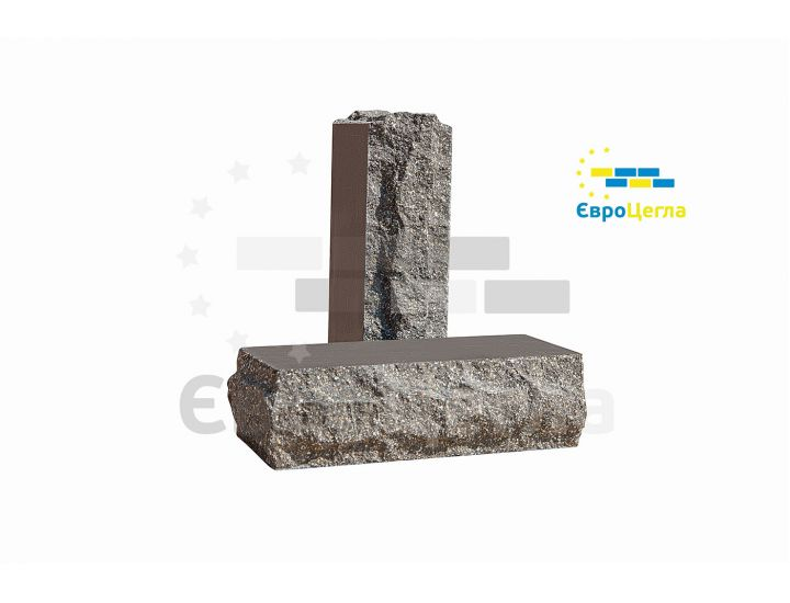 Облицовочный гиперпрессованый кирпич скала Євроцегла тычковой графит
