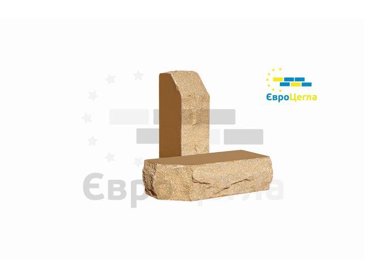 Облицовочный колотый кирпич Євроцегла желтый углово-тычковой