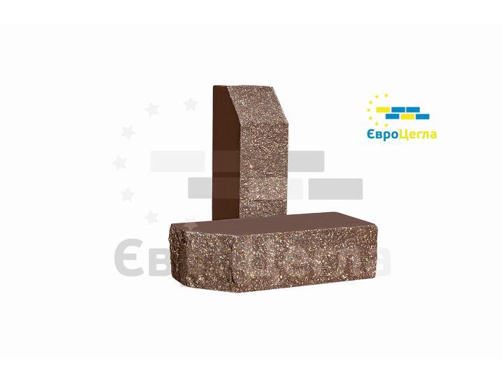 Облицовочный колотый кирпич Євроцегла коричневый углово-тычковой