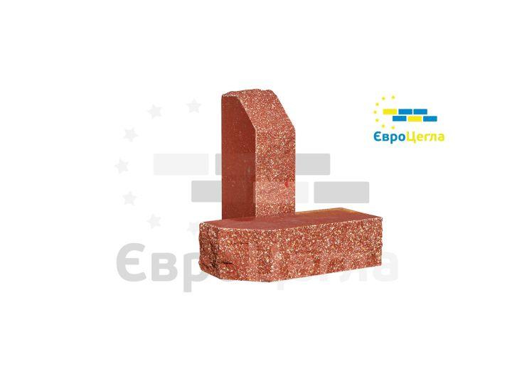Облицовочный колотый кирпич Євроцегла красный углово-тычковой