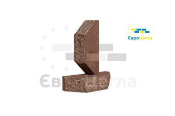 """Облицовочный кирпич Євроцегла """"колотый"""" шоколад двухугловой"""