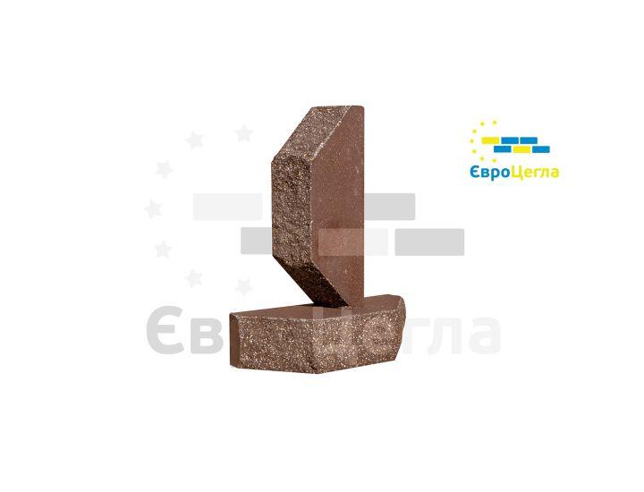 Облицовочный колотый кирпич Євроцегла шоколад двухугловой