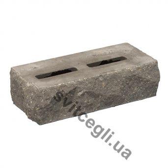 Лицевой кирпич Рубелэко Дикий камень пустотелый тычковой графит КСПБ6