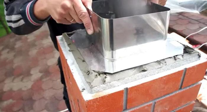 Монтаж дымохода, бетонный кожух