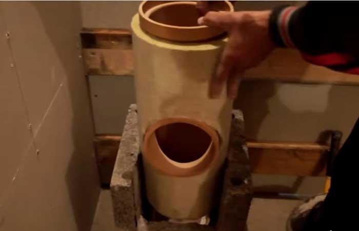 Монтаж, бетонный блок, керамическая труба